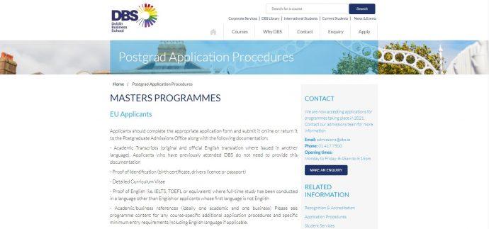 Postgraduate Application Procedures - Dublin Business School